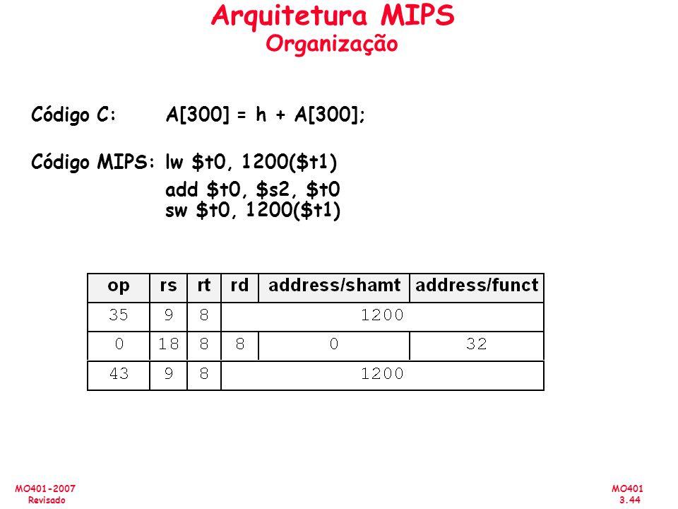 MO401 3.44 MO401-2007 Revisado Arquitetura MIPS Organização Código C:A[300] = h + A[300]; Código MIPS:lw $t0, 1200($t1) add $t0, $s2, $t0 sw $t0, 1200