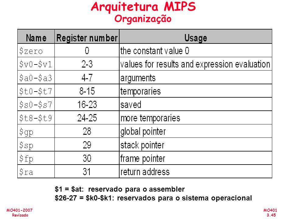 MO401 3.45 MO401-2007 Revisado Arquitetura MIPS Organização $1 = $at: reservado para o assembler $26-27 = $k0-$k1: reservados para o sistema operacion