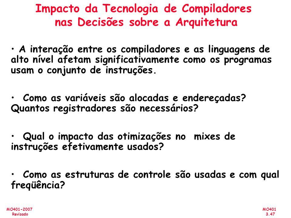 MO401 3.47 MO401-2007 Revisado Impacto da Tecnologia de Compiladores nas Decisões sobre a Arquitetura A interação entre os compiladores e as linguagen