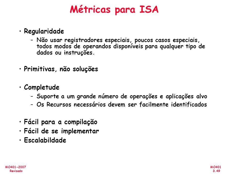 MO401 3.49 MO401-2007 Revisado Métricas para ISA Regularidade –Não usar registradores especiais, poucos casos especiais, todos modos de operandos disp