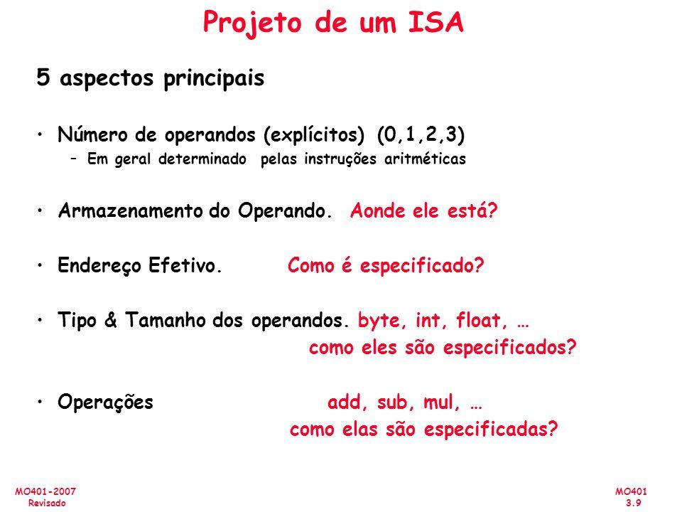 MO401 3.9 MO401-2007 Revisado Projeto de um ISA 5 aspectos principais Número de operandos (explícitos)(0,1,2,3) –Em geral determinado pelas instruções