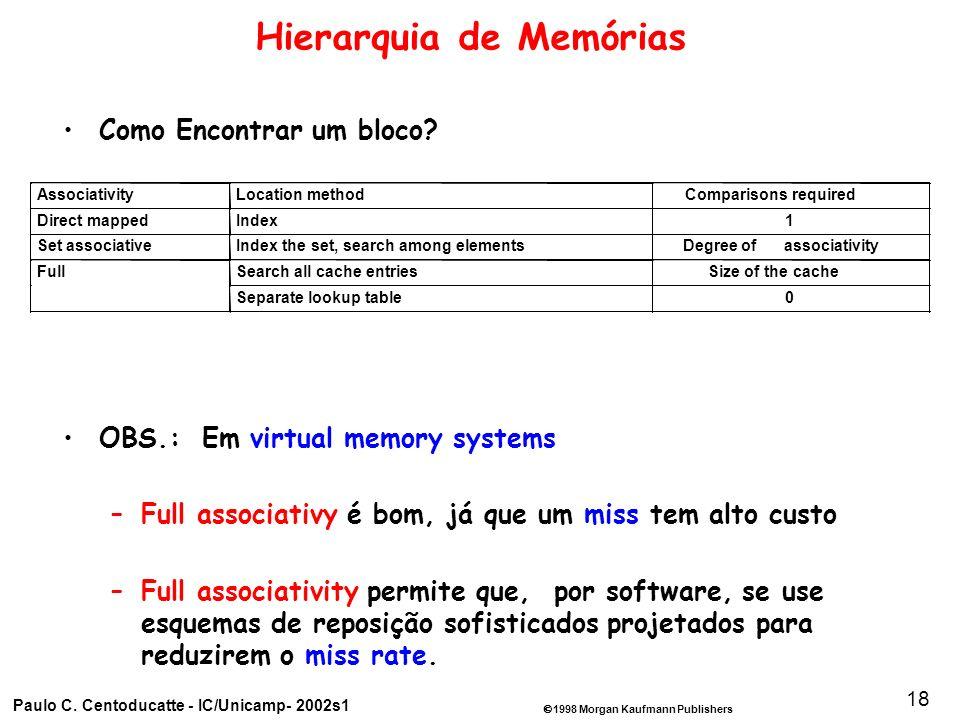 1998 Morgan Kaufmann Publishers Paulo C. Centoducatte - IC/Unicamp- 2002s1 18 Hierarquia de Memórias Como Encontrar um bloco? OBS.: Em virtual memory