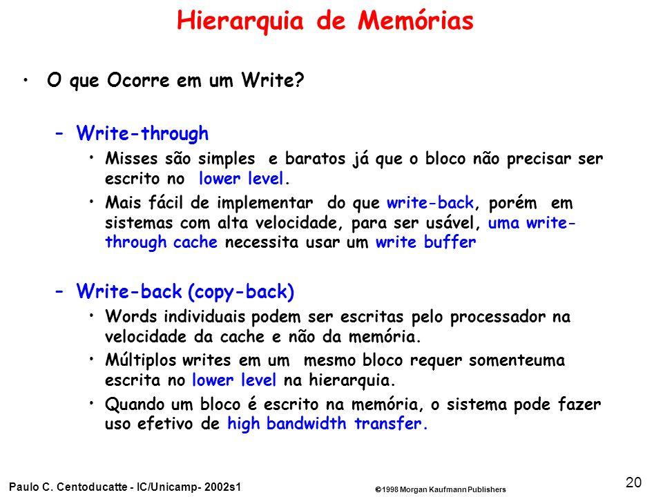 1998 Morgan Kaufmann Publishers Paulo C. Centoducatte - IC/Unicamp- 2002s1 20 Hierarquia de Memórias O que Ocorre em um Write? –Write-through Misses s