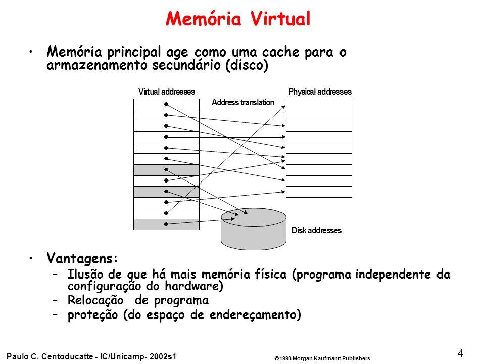 1998 Morgan Kaufmann Publishers Paulo C. Centoducatte - IC/Unicamp- 2002s1 4 Memória Virtual Memória principal age como uma cache para o armazenamento