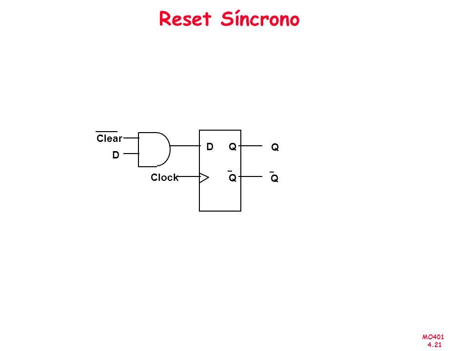 MO401 4.21 Reset Síncrono D Clock Q Q Clear D Q Q