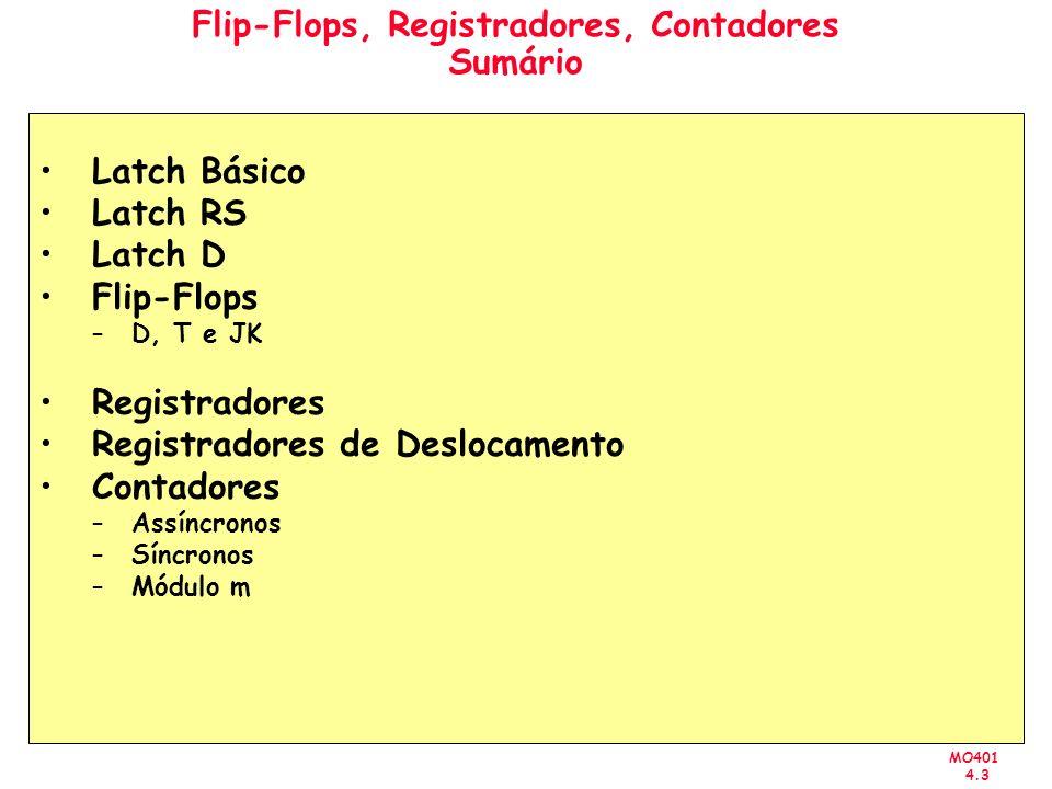 MO401 4.3 Flip-Flops, Registradores, Contadores Sumário Latch Básico Latch RS Latch D Flip-Flops –D, T e JK Registradores Registradores de Deslocamento Contadores –Assíncronos –Síncronos –Módulo m