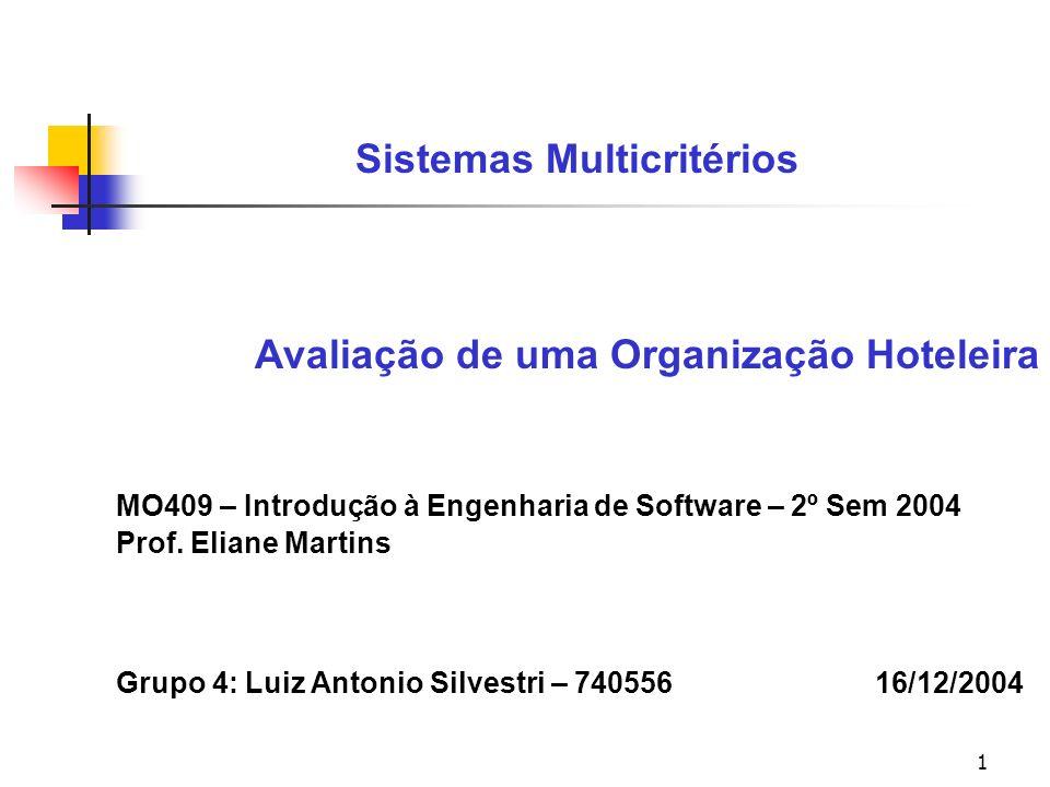 1 Sistemas Multicritérios Avaliação de uma Organização Hoteleira MO409 – Introdução à Engenharia de Software – 2º Sem 2004 Prof.