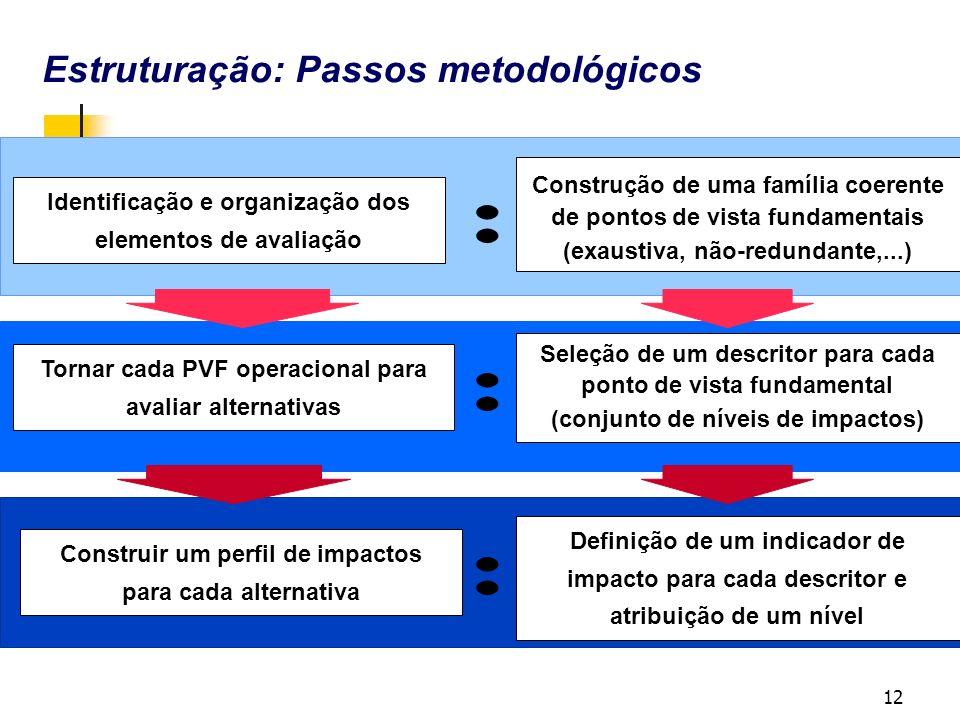 12 Estruturação: Passos metodológicos Identificação e organização dos elementos de avaliação Tornar cada PVF operacional para avaliar alternativas Construir um perfil de impactos para cada alternativa : : : Seleção de um descritor para cada ponto de vista fundamental (conjunto de níveis de impactos) Definição de um indicador de impacto para cada descritor e atribuição de um nível Construção de uma família coerente de pontos de vista fundamentais (exaustiva, não-redundante,...)