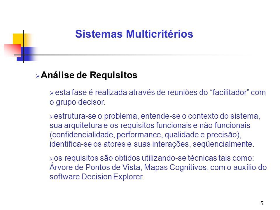 5 Sistemas Multicritérios Análise de Requisitos esta fase é realizada através de reuniões do facilitador com o grupo decisor.