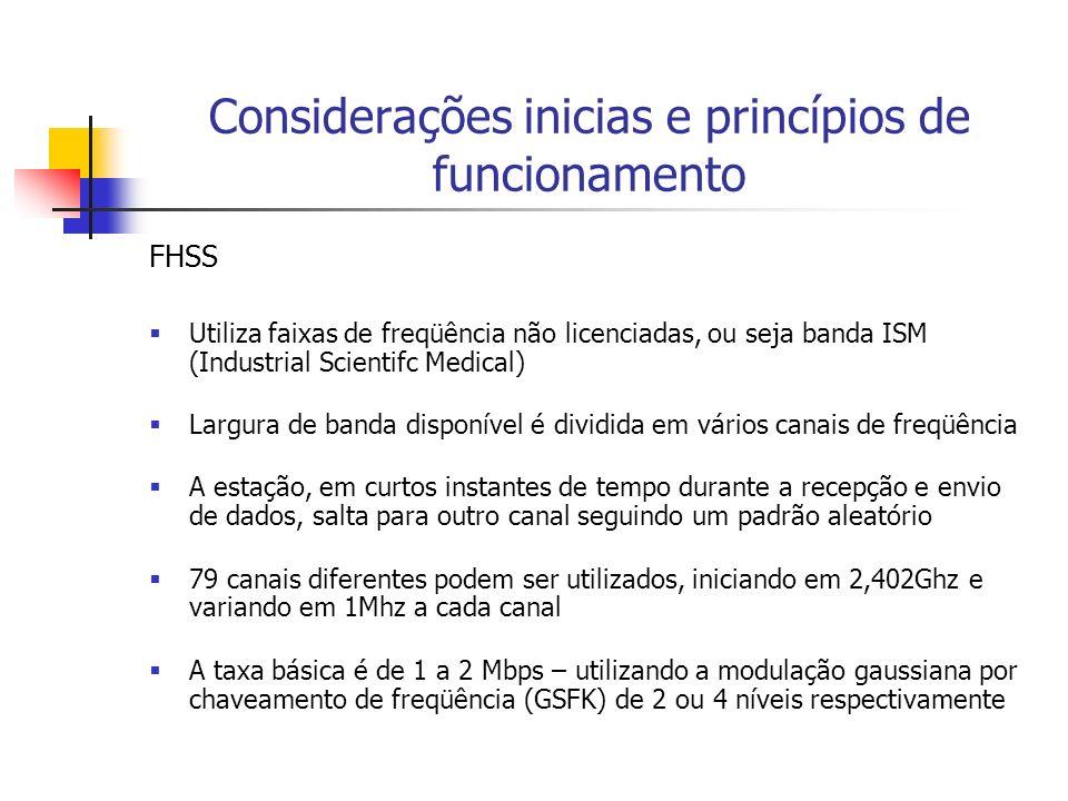 Considerações inicias e princípios de funcionamento FHSS Utiliza faixas de freqüência não licenciadas, ou seja banda ISM (Industrial Scientifc Medical