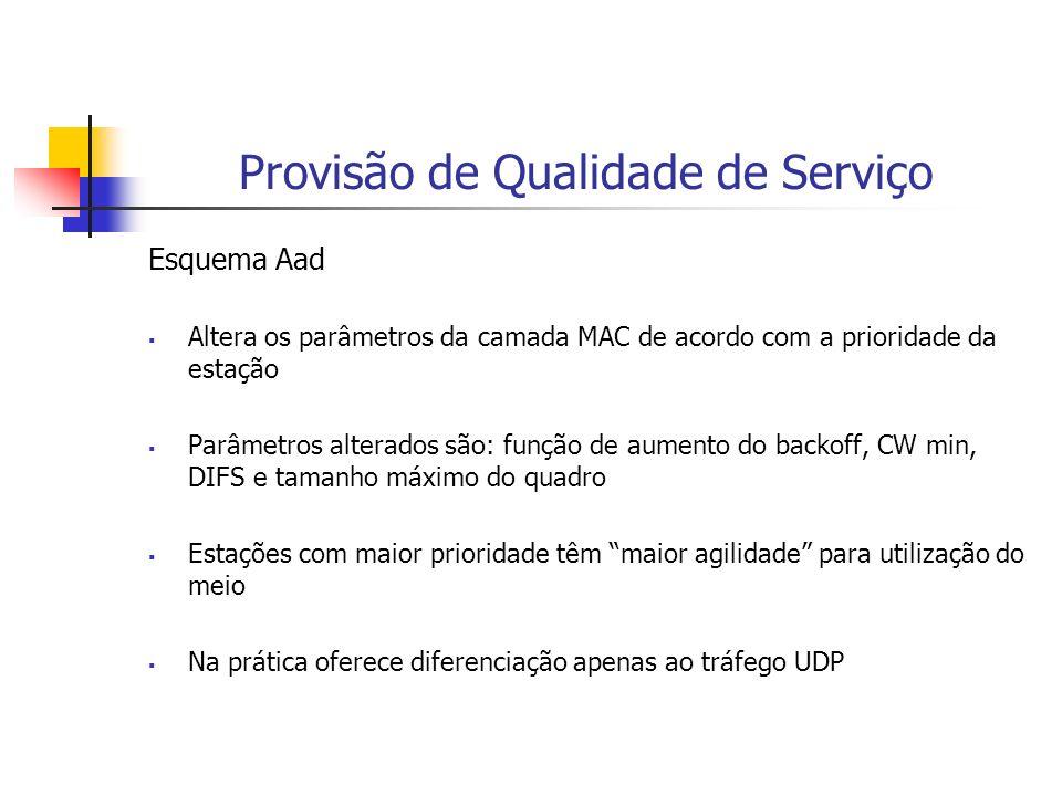 Provisão de Qualidade de Serviço Esquema Aad Altera os parâmetros da camada MAC de acordo com a prioridade da estação Parâmetros alterados são: função