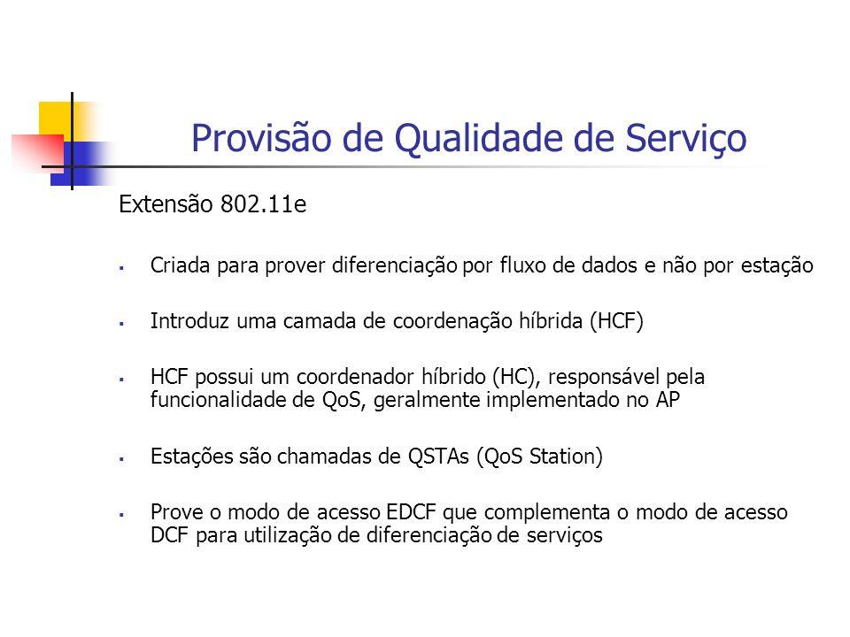 Provisão de Qualidade de Serviço Extensão 802.11e Criada para prover diferenciação por fluxo de dados e não por estação Introduz uma camada de coorden