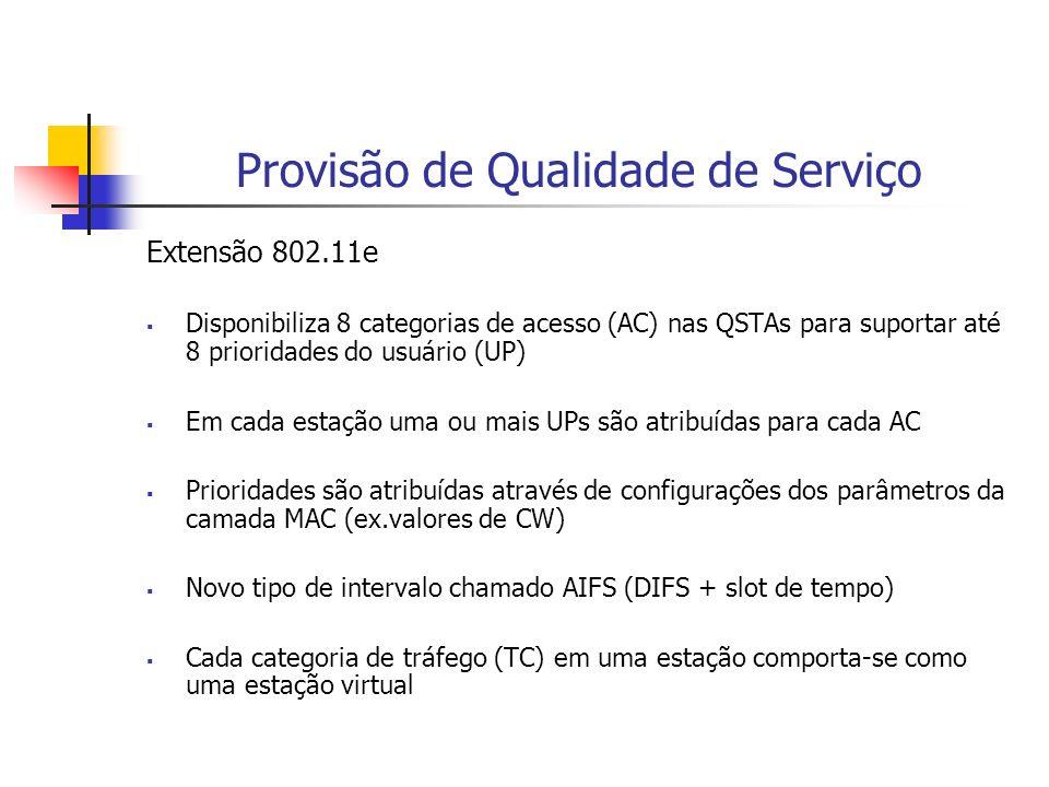 Provisão de Qualidade de Serviço Extensão 802.11e Disponibiliza 8 categorias de acesso (AC) nas QSTAs para suportar até 8 prioridades do usuário (UP)