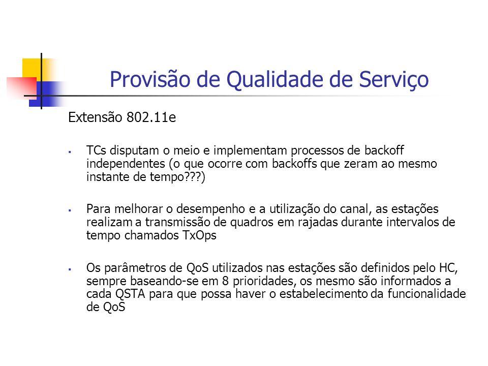 Provisão de Qualidade de Serviço Extensão 802.11e TCs disputam o meio e implementam processos de backoff independentes (o que ocorre com backoffs que