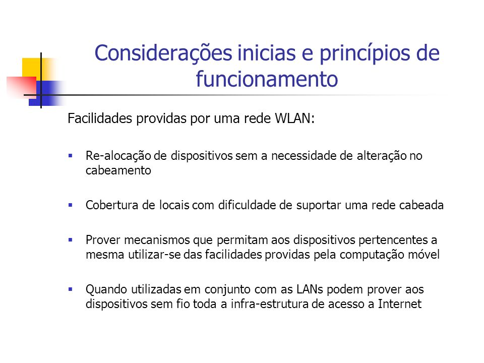 Considerações inicias e princípios de funcionamento Aspectos a serem considerados na utilização de Wlans: Transmissão do sinal Taxa de transmissão Taxa de erros