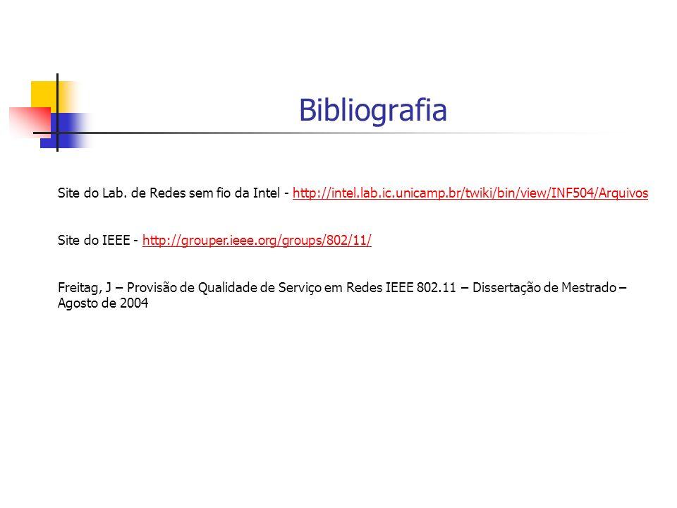 Bibliografia Site do Lab. de Redes sem fio da Intel - http://intel.lab.ic.unicamp.br/twiki/bin/view/INF504/Arquivoshttp://intel.lab.ic.unicamp.br/twik