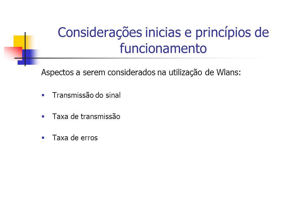 Considerações inicias e princípios de funcionamento Aumento da utilização de Wlans: Redução grande nos custos envolvidos Utilização de faixas de freqüências livres ou não licenciadas que simplificam sua utilização Aumento das taxas de transmissão