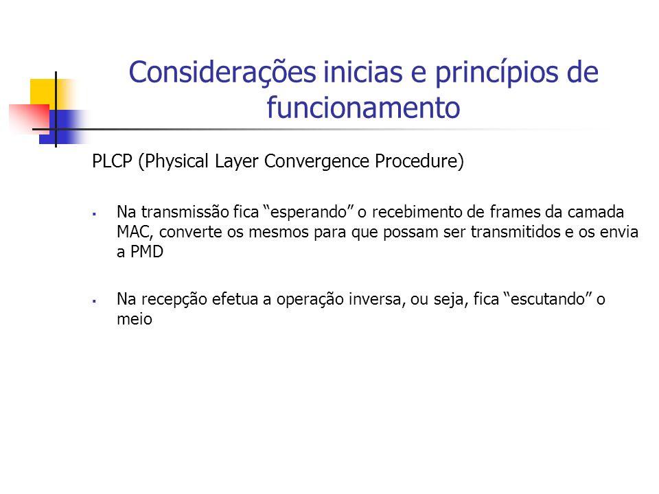 Considerações inicias e princípios de funcionamento PLCP (Physical Layer Convergence Procedure) Na transmissão fica esperando o recebimento de frames