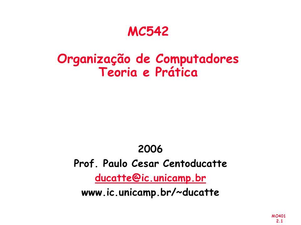 MO401 2.2 Computer Organization and Design: The Hardware/Software Interface (Capítulo 1) MC542 Arquitetura de Computadores Introdução