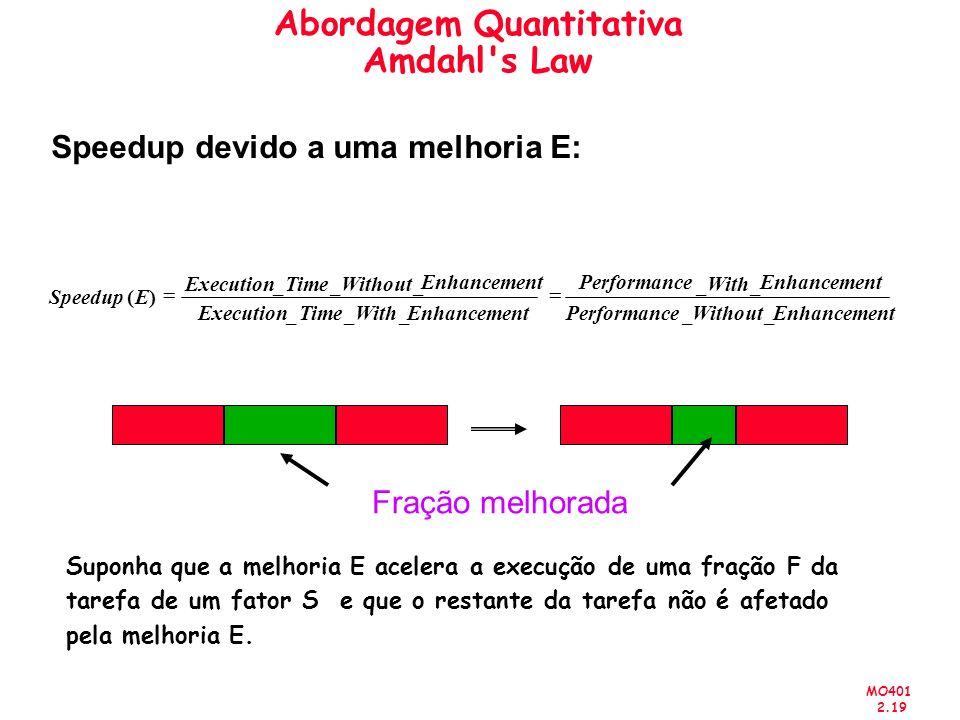 MO401 2.19 Suponha que a melhoria E acelera a execução de uma fração F da tarefa de um fator S e que o restante da tarefa não é afetado pela melhoria E.