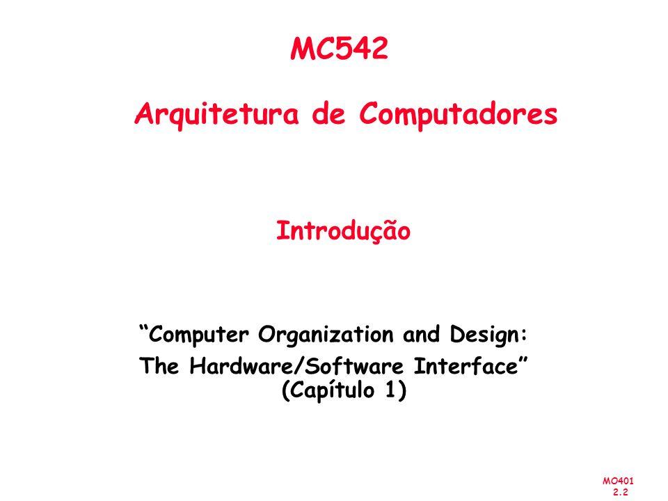 MO401 2.3 Sumário Introdução Tarefas do Projetista Tecnologia e tendências na computação Custo, Preço e suas tendências Outros Aspectos