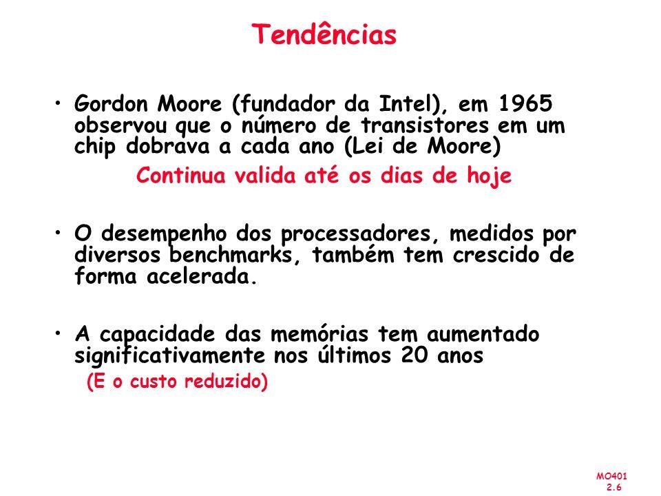 MO401 2.6 Tendências Gordon Moore (fundador da Intel), em 1965 observou que o número de transistores em um chip dobrava a cada ano (Lei de Moore) Continua valida até os dias de hoje O desempenho dos processadores, medidos por diversos benchmarks, também tem crescido de forma acelerada.