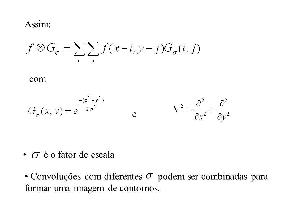 Assim: com e é o fator de escala Convoluções com diferentes podem ser combinadas para formar uma imagem de contornos.