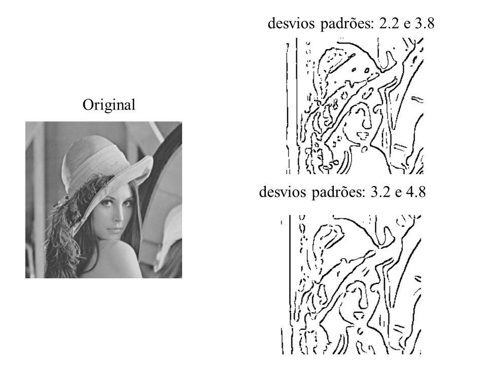 desvios padrões: 2.2 e 3.8 desvios padrões: 3.2 e 4.8