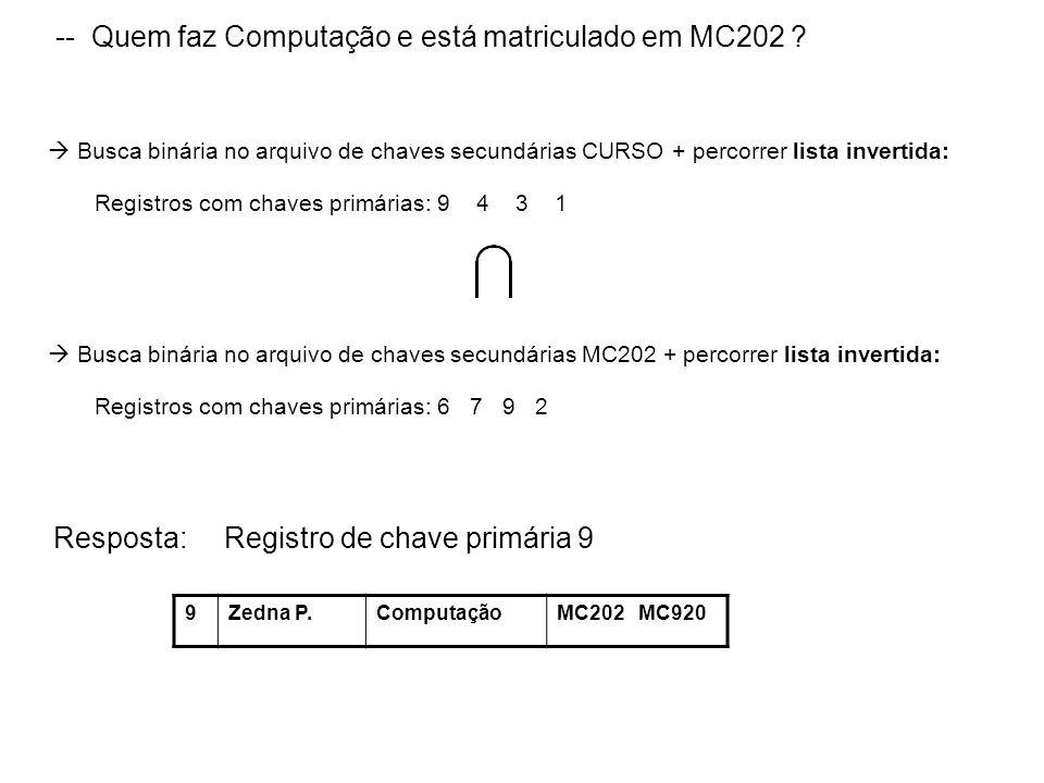 -- Quem faz Computação e está matriculado em MC202 ? Busca binária no arquivo de chaves secundárias CURSO + percorrer lista invertida: Registros com c