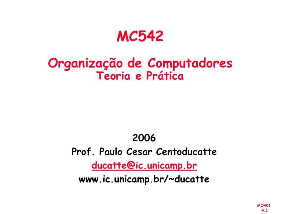 MO401 4.32 Multiplicação Números com Sinal 1 1 0 0 1 0 0 1 0 1 1 11 0 0 1 0 11 0 1 0 1 1 00 0 0 0 0 Multiplicando M Multiplicador Q Product P ( 14) (+11) ( 154) + + 11 1 0 1 0 1 11 0 0 1 0+ 11 0 1 1 0 0 0 0 0 0 0 0+ 1 1 0 1 1 0 0 1 1 0 Partial product 0 Partial product 1 Partial product 2 Partial product 3 – – Multiplicando Negativo