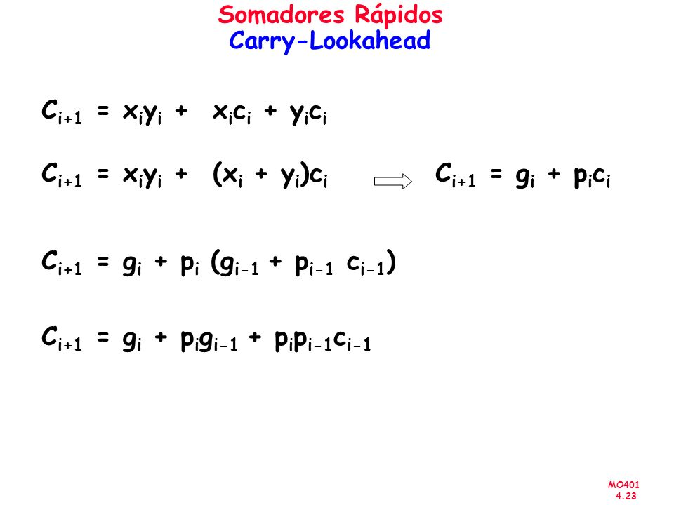 MO401 4.23 Somadores Rápidos Carry-Lookahead C i+1 = x i y i + x i c i + y i c i C i+1 = x i y i + (x i + y i )c i C i+1 = g i + p i c i C i+1 = g i +