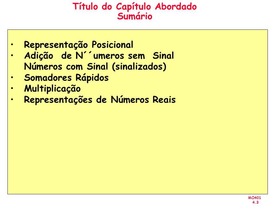 MO401 4.4 Representação Posicional Representação de Inteiros sem Sinal Sistema Binário: D = d n-1 d n-2 … d 1 d 0 V(D) = d n-1 x10 n-1 + d n-2 x10 n-2 + … + d 1 x10 1 + d 0 x10 0 B = b n-1 b n-2 … b 1 b 0 V(B) = b n-1 x2 n-1 + b n-2 xb n-2 + … + b 1 x2 1 + b 0 x2 0 n-1 = b i x2 i i=0