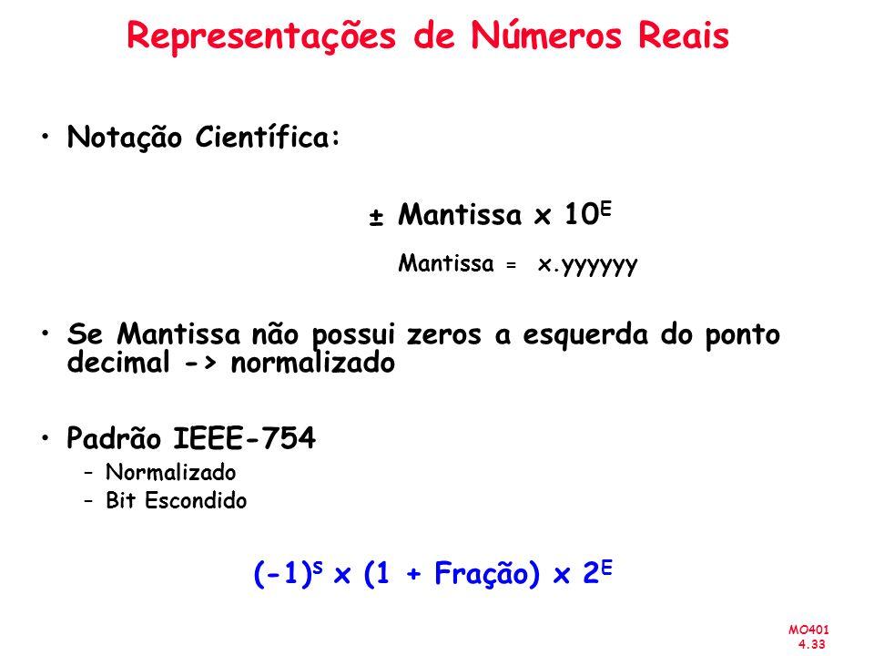 MO401 4.33 Representações de Números Reais Notação Científica: ± Mantissa x 10 E Mantissa = x.yyyyyy Se Mantissa não possui zeros a esquerda do ponto