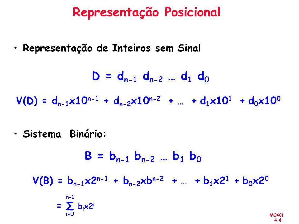 MO401 4.4 Representação Posicional Representação de Inteiros sem Sinal Sistema Binário: D = d n-1 d n-2 … d 1 d 0 V(D) = d n-1 x10 n-1 + d n-2 x10 n-2