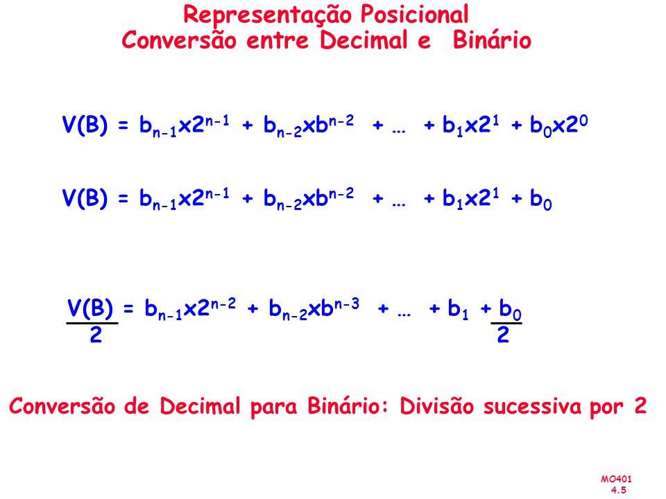 MO401 4.5 Representação Posicional Conversão entre Decimal e Binário V(B) = b n-1 x2 n-1 + b n-2 xb n-2 + … + b 1 x2 1 + b 0 x2 0 V(B) = b n-1 x2 n-1