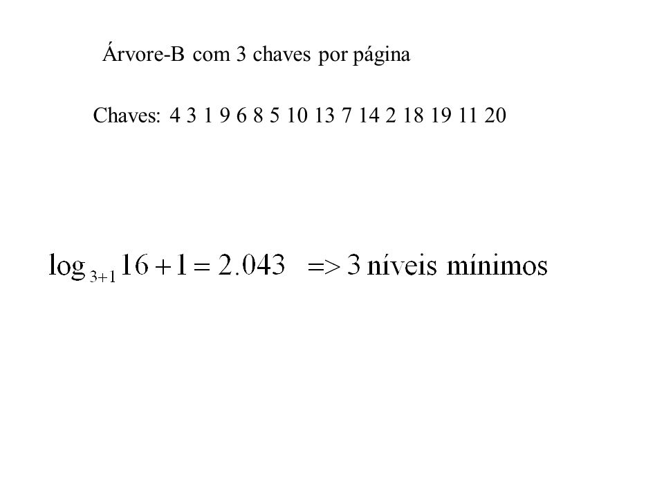 Chaves: 4 3 1 9 6 8 5 10 13 7 14 2 18 19 11 20 Árvore-B com 3 chaves por página