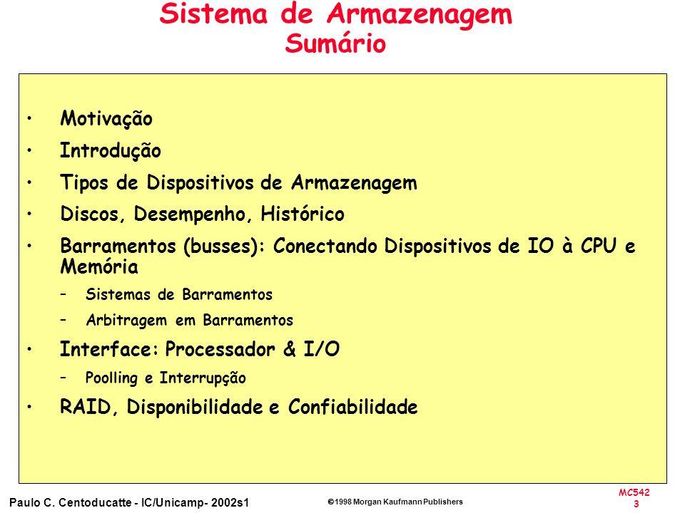 MC542 3 Paulo C. Centoducatte - IC/Unicamp- 2002s1 1998 Morgan Kaufmann Publishers Sistema de Armazenagem Sumário Motivação Introdução Tipos de Dispos