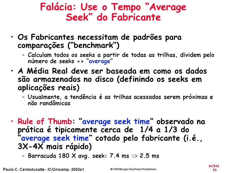 MC542 33 Paulo C. Centoducatte - IC/Unicamp- 2002s1 1998 Morgan Kaufmann Publishers Falácia: Use o Tempo Average Seek do Fabricante Os Fabricantes nec