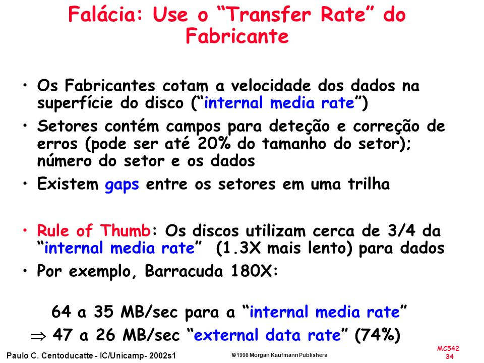 MC542 34 Paulo C. Centoducatte - IC/Unicamp- 2002s1 1998 Morgan Kaufmann Publishers Falácia: Use o Transfer Rate do Fabricante Os Fabricantes cotam a