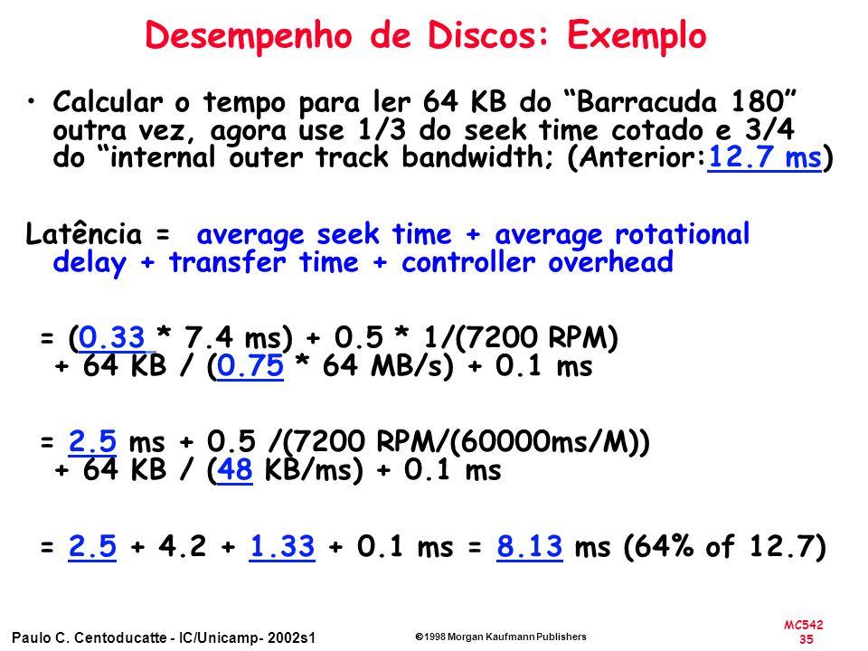 MC542 35 Paulo C. Centoducatte - IC/Unicamp- 2002s1 1998 Morgan Kaufmann Publishers Desempenho de Discos: Exemplo Calcular o tempo para ler 64 KB do B