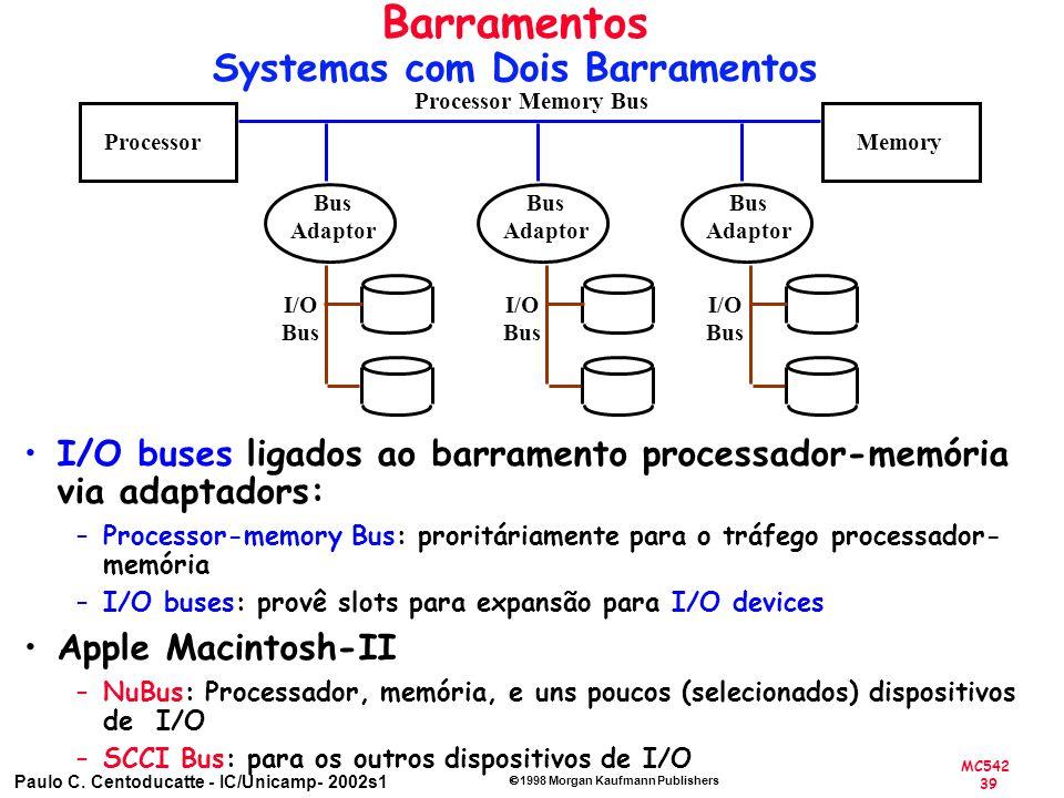 MC542 39 Paulo C. Centoducatte - IC/Unicamp- 2002s1 1998 Morgan Kaufmann Publishers Barramentos Systemas com Dois Barramentos I/O buses ligados ao bar