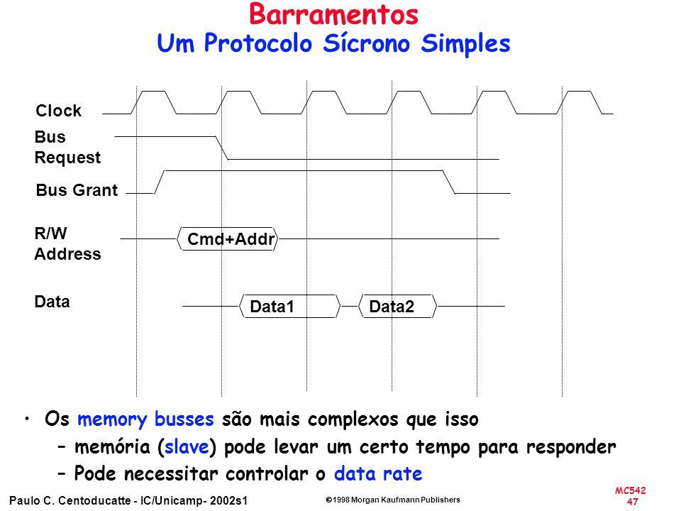 MC542 47 Paulo C. Centoducatte - IC/Unicamp- 2002s1 1998 Morgan Kaufmann Publishers Os memory busses são mais complexos que isso –memória (slave) pode