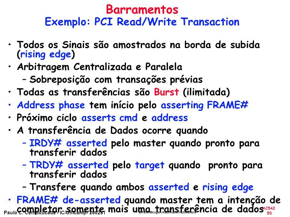 MC542 50 Paulo C. Centoducatte - IC/Unicamp- 2002s1 1998 Morgan Kaufmann Publishers Todos os Sinais são amostrados na borda de subida (rising edge) Ar
