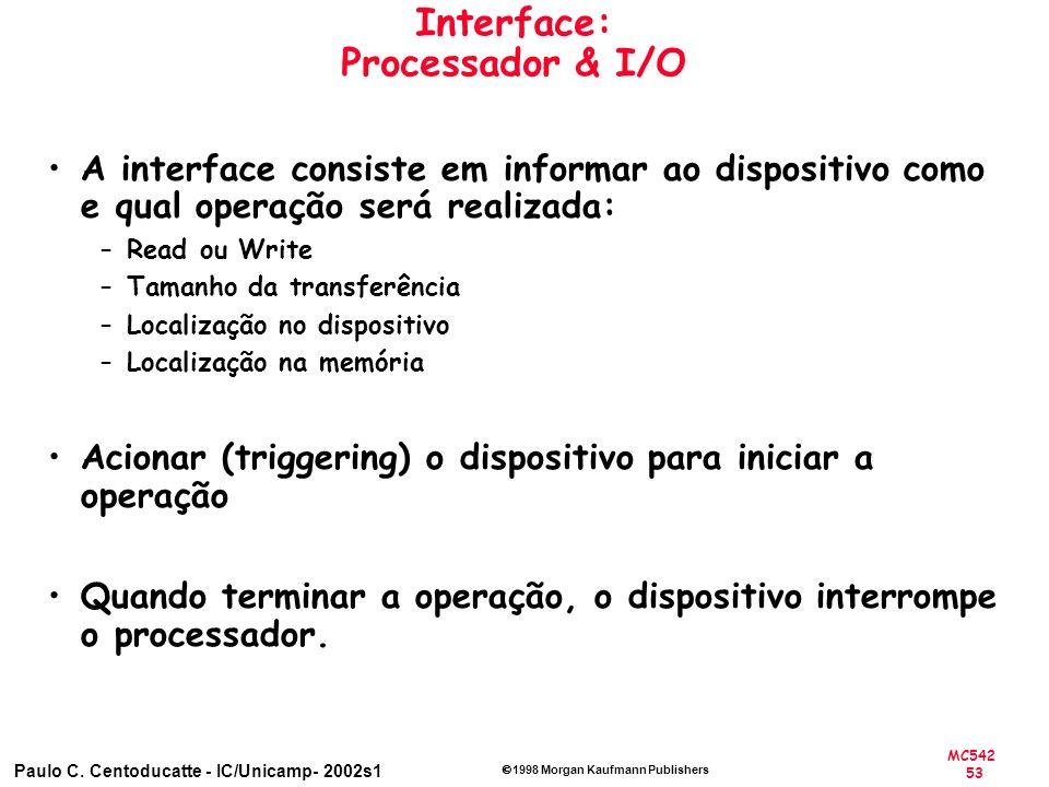 MC542 53 Paulo C. Centoducatte - IC/Unicamp- 2002s1 1998 Morgan Kaufmann Publishers Interface: Processador & I/O A interface consiste em informar ao d