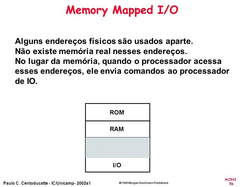 MC542 56 Paulo C. Centoducatte - IC/Unicamp- 2002s1 1998 Morgan Kaufmann Publishers Memory Mapped I/O ROM RAM I/O Alguns endereços físicos são usados