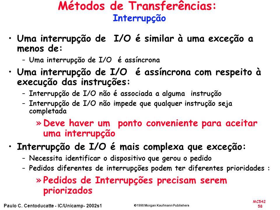 MC542 58 Paulo C. Centoducatte - IC/Unicamp- 2002s1 1998 Morgan Kaufmann Publishers Métodos de Transferências: Interrupção Uma interrupção de I/O é si