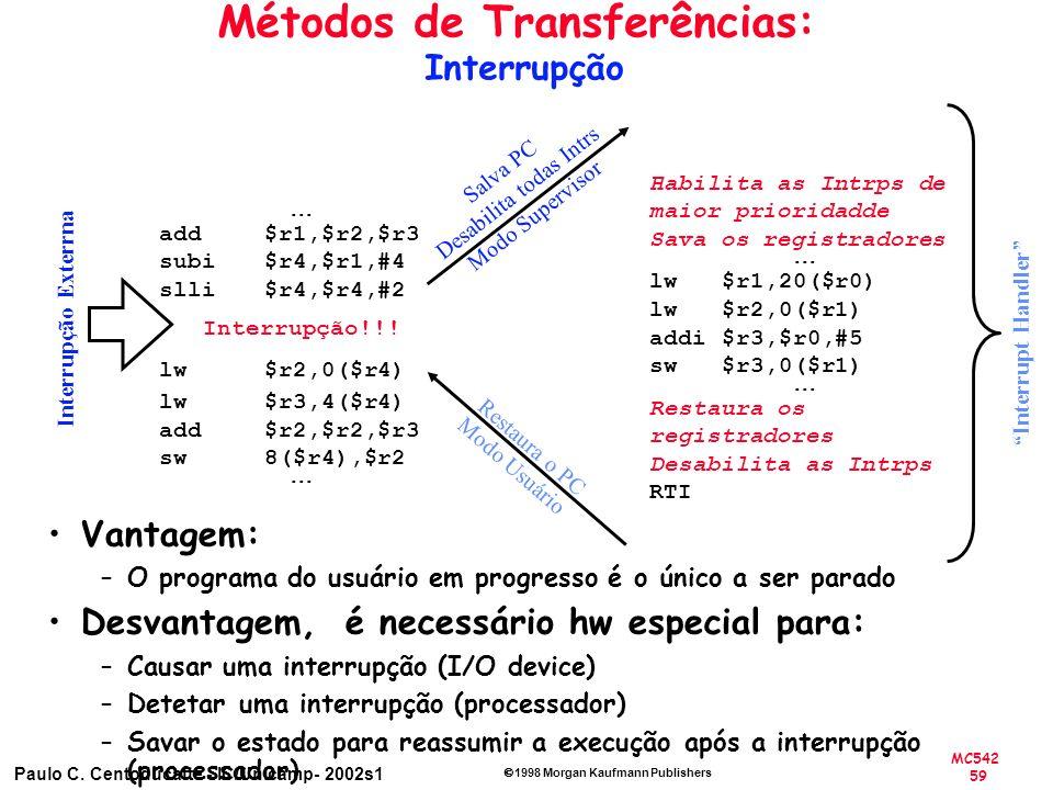 MC542 59 Paulo C. Centoducatte - IC/Unicamp- 2002s1 1998 Morgan Kaufmann Publishers Métodos de Transferências: Interrupção add $r1,$r2,$r3 subi $r4,$r