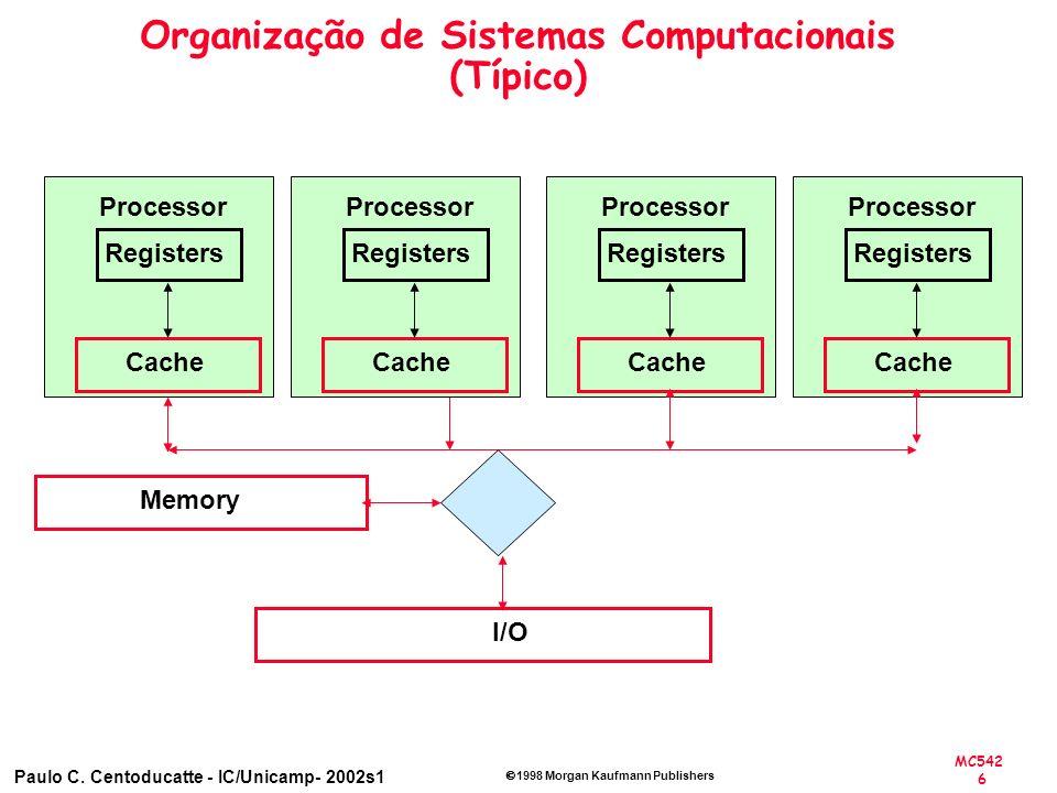 MC542 6 Paulo C. Centoducatte - IC/Unicamp- 2002s1 1998 Morgan Kaufmann Publishers Organização de Sistemas Computacionais (Típico) Memory I/O Register