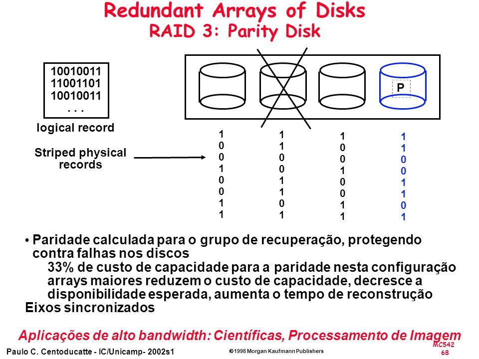 MC542 68 Paulo C. Centoducatte - IC/Unicamp- 2002s1 1998 Morgan Kaufmann Publishers Redundant Arrays of Disks RAID 3: Parity Disk P 10010011 11001101