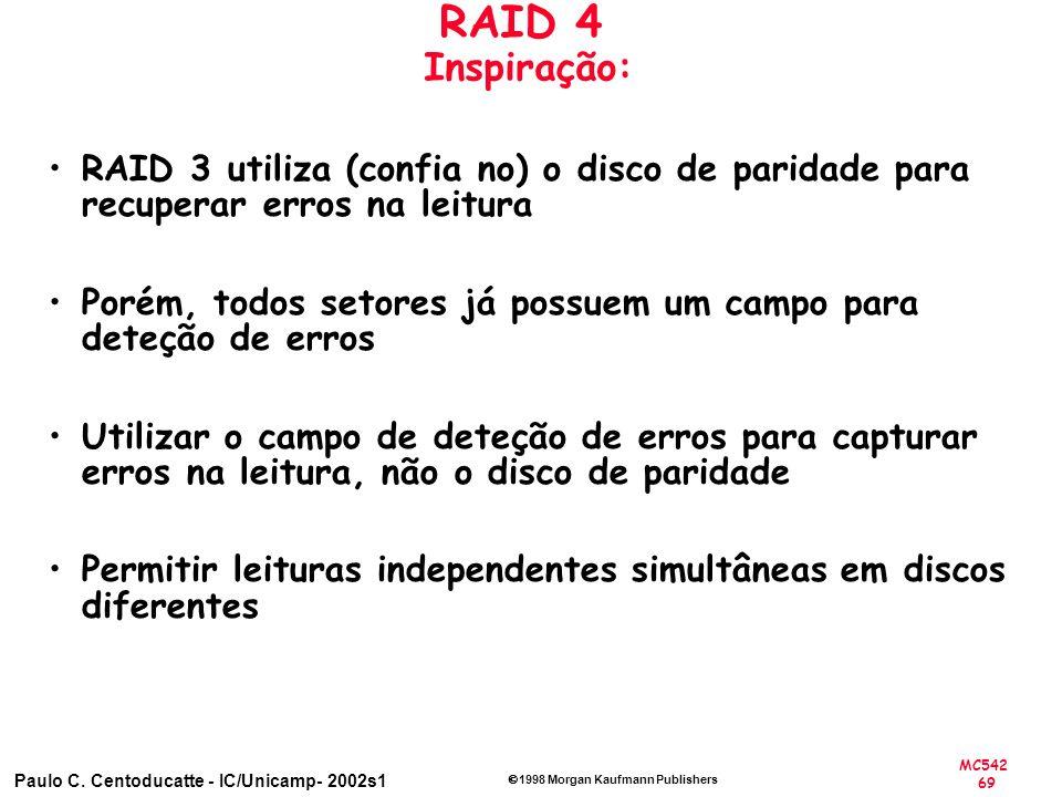 MC542 69 Paulo C. Centoducatte - IC/Unicamp- 2002s1 1998 Morgan Kaufmann Publishers RAID 4 Inspiração: RAID 3 utiliza (confia no) o disco de paridade